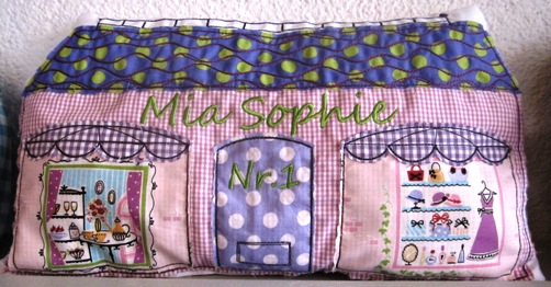 embroidered personalized house cushion