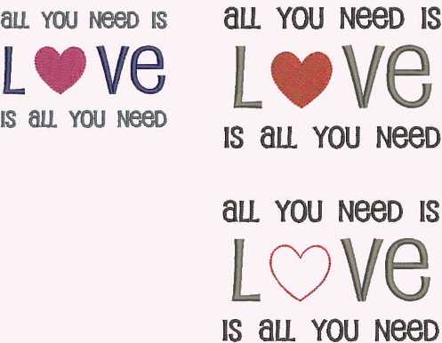 Stickdatei embroidery design, all-you-need-is-love